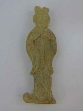 Chinese Carved Jade Or Hardstone Buddha Pendant