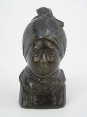 Ruge - Antique Bronze Bust Statue Of A Girl