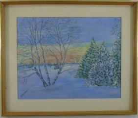 M J Wallace - Framed Winter Landscape Painting