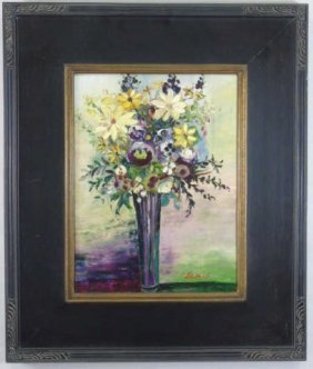 Lewis - Signed Floral Still Life Palette Painting