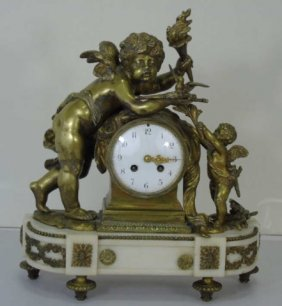 Antique French Gilt Bronze & Marble Mantle Clock