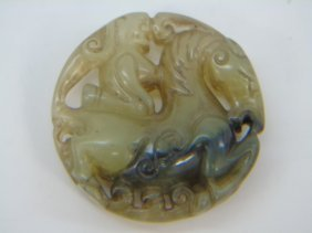 Chinese Carved Jade Or Hardstone Horse Pendant