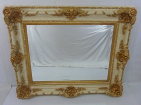 Baroque Style Cream & Gold Decorated Mirror