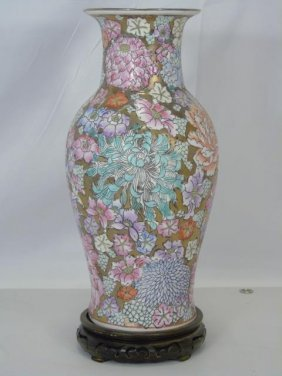 Chinese Hand-painted Floral Vase On Vintage Base