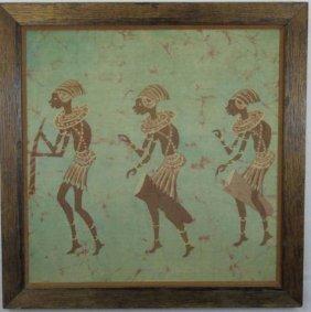 Vintage African Hand Dyed Batik Fabric Framed