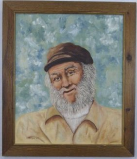Naive Oil Painting Of Bearded Fisherman On Canvas