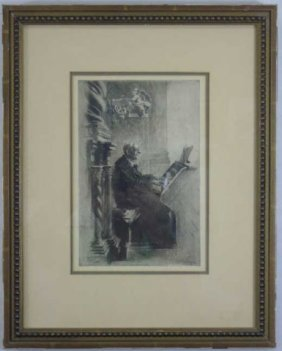 Vintage Etching Of A Church Organist At Work