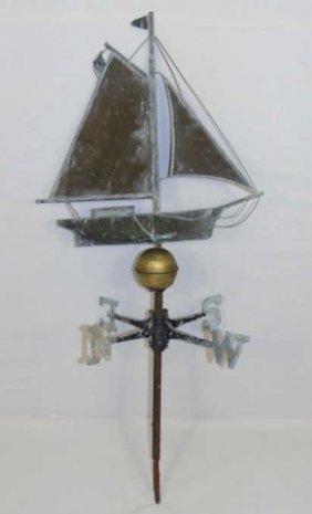 Vintage 20th C Sail Boat Form Metal Weathervane