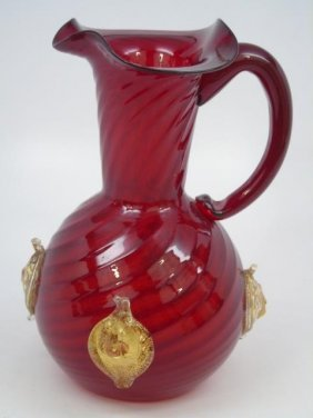 Murano Blown Cranberry Glass Pitcher W Lions