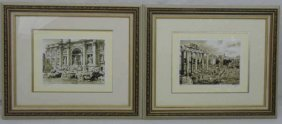 Pair Signed & Framed Italian Watercolor Paintings