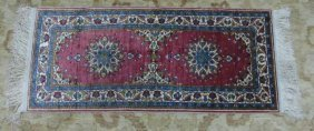 Hand Knotted Silk And Wool Blend Carpet Runner