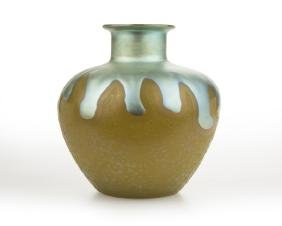 A Steuben Blue Aurene And Yellow Jade Glass Vase