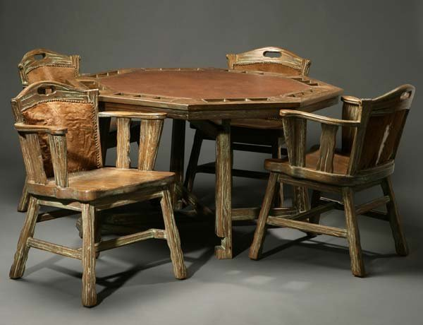 1164 An A Brandt Ranch Oak Poker Table And Chairs