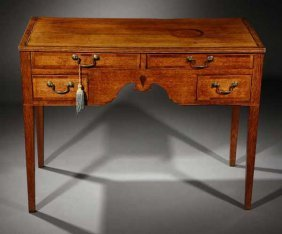 A Georgian Provincial Inlaid Oak Writing Table