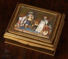 A French Bronze Box Miniature Scene M. Guillermin