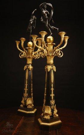 A Pair Of Empire Style Ormolu & Bronze Candelabra