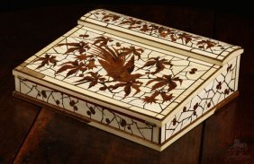 A French Ivory And Marquetry Lap Desk, Duvinage