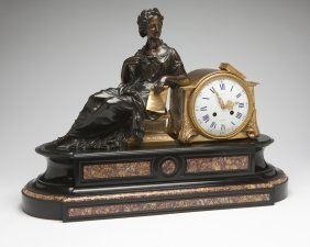 A Napoleon III Gilt And Patinated Bronze, Marble