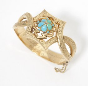 A Victorian Turquoise And Diamond Hinged Bangle