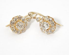 A Pair Of Diamond Floret Earrings