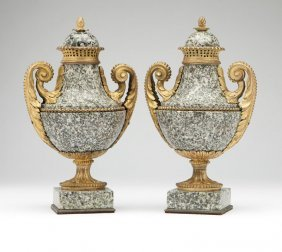 A Pair Of Gilt-bronze-mounted Grey-granite Urns
