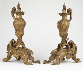 A Pair Louis XV Style Gilt-bronze Chenets