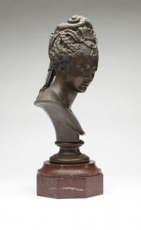 A Patinated Bronze Bust Of A Woman, Barbedienne