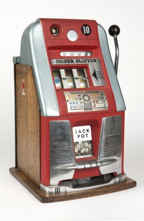 A Mills ''silver Slipper'' 10 Cent Slot Machine