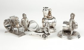 5 Victorian Figural Silver-plated Napkin Holders