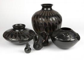 6 Mata Ortiz & Santa Clara Blackware Vessels