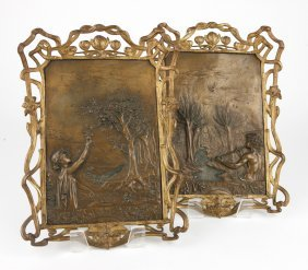 Two Framed Art Nouveau Bronze Plaques