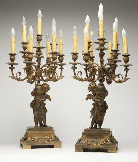 A Pair Of French Gilt-bronze Candelabra