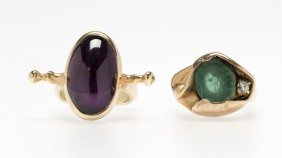 An Emerald Ring And An Amethyst Ring