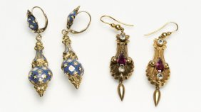 A Group Of Victorian Gold Pendant Earrings