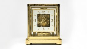 A Lecoultre & Cie Atmos Gilt-brass Mantel Clock