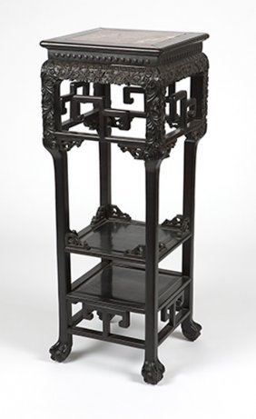 A Carved Chinese Export Hardwood Plant Stand