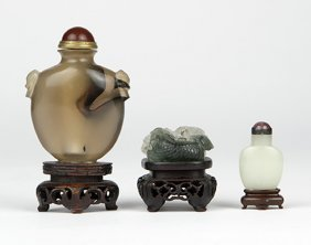 A Group Of Three Chinese Carved Hardstone Objects