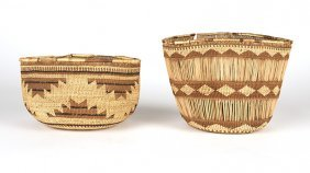 Two Hupa / Yurok Twined Baskets