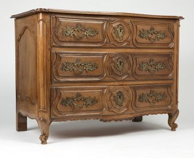 A Continental Three-drawer Bow-front Commode