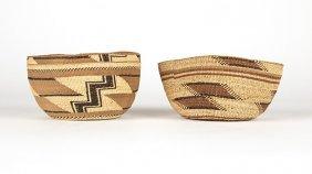 Two Hupa / Yurok Twined Basketry Hats
