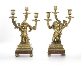 A Pair Of French Gilt-bronze Candelabra