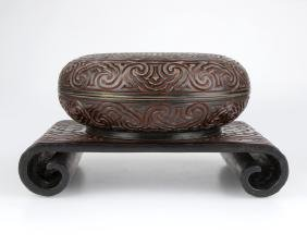 Two Chinese Carved Cinnabar Lacquer Objects