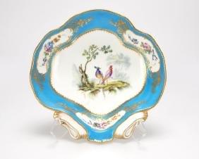 A Sevres Bleu Celeste Shell-form Porcelain Dish