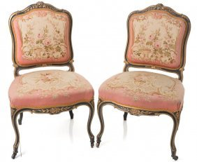 Pair Of Louis Xv Style Gilt Wood And Aubusson Side