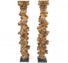 Pair Of Antique Solomonic Carved Giltwood And