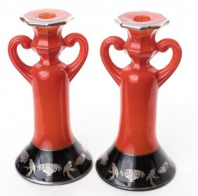 Painted Glass Candleholders