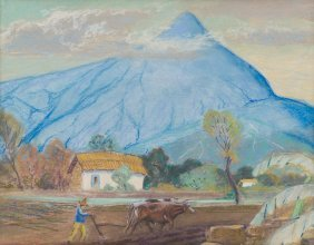 "L.o. Griffith (1875-1956), ""mexico"", Pastel On Paper"