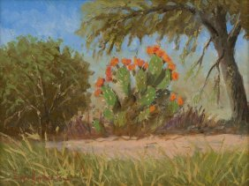 "Hugo Herbeck (1923-2009), ""prickly Pear In Bloom"", Oil"