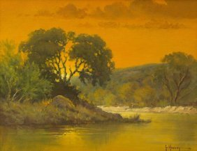 "G. Harvey (b. 1933), ""evening On The River"", 1969, Oil"