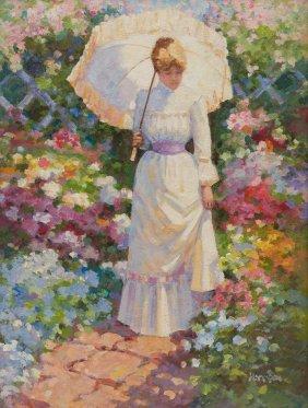 Robert Hamman, Springtime Stroll, Oil On Canvas